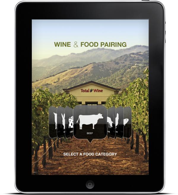Total Wine & More's Wine & Food Pairing Kiosk App Screen 1