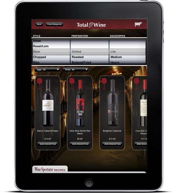 Total Wine & More's Wine & Food Pairing Kiosk App Screen 2