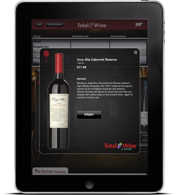 Total Wine & More's Wine & Food Pairing Kiosk App Screen 3