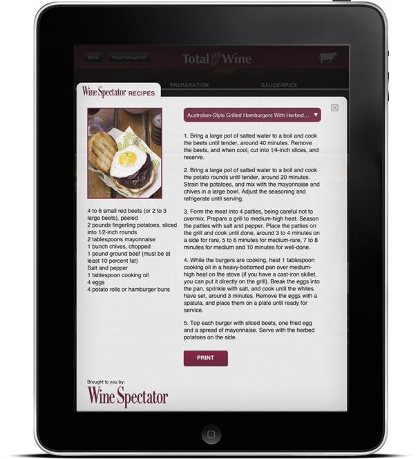 Total Wine & More's Wine & Food Pairing Kiosk App Screen 4
