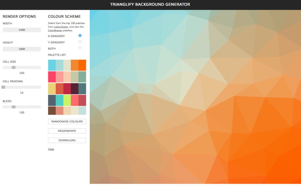 Trianglify Background generator Screenshot – kural design, Evanston, IL