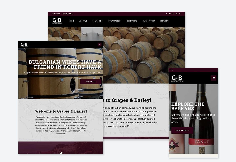 G & B Importers – Website Screen Grabs – Kural Design